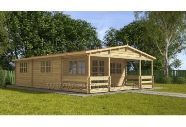 Koka vasarnīca SPAGNA 6x6,5 m + veranda, 44 mm